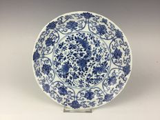 Beautiful blue/white porcelain plate - China - early 18th century (marked Kangxi period)