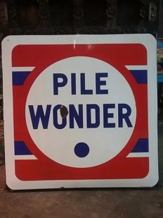 Large enamel sign for Pile Wonder