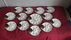 Longwy - complete oyster tableware set, 12 dishes and one large serving tray