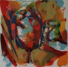Paul de Vries - Abstract in rood