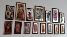 Alphonse Mucha - Collection of 15 Mirror Paintings - ( 3 complete sets of Alphonse Mucha - 4 Seasons )