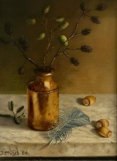 Jan Muijs (1925-2015)-still life with copper bottle, twig and spring on marble