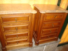 Pair of  Side Tables ( Solid Chestnut Wood )  with 4 drawer`s and Italian Marble Stone, Italy, 2st Half of the 20th century