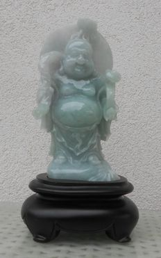Laughing Buddha in serpentine - China - late 20th/21st century