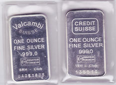 "2 silver bars of 1 troy ounce ""Valcambi"" and ""Credit Suisse"""