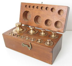 Wooden  box with weights
