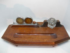 Art-Deco Desk set with clock, thermometer and ink pot