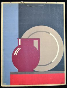 School Poster illustration example from 1929 in Art Deco style: Vase and bowl of Leerdam glassware