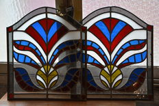 Pair of decorative stained glass windows-Belgium - approx.1950