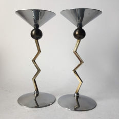 Designer unknown-Memphis inspired zig zag candlesticks-second half 20th century