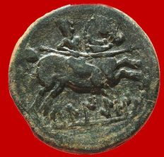 Ancient Hispania – Bronze ace (7.33 g – 24 mm) of Beligiom (celtiberian city in the north of Spain, Belchite-Zaragoza), coined in the 2nd century b.C. Horse rider with lance on the back.