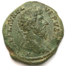 Roman Empire - Lucius Verus, 161 – 169 AD  Sestertius 163 AD Rome mint/ Fortuna. A spectacular portrait struck in high relief and attractive natural green patina.