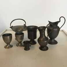 Pewter marked objects, including toy mortar and eggcups - Netherlands - 19th and 20th century