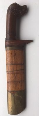 Beno (fruit knife) with copper strips and unusual handle – West-Java – Indonesia