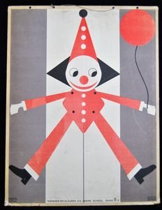 School poster illustration example from 1929 in Art Deco style - Jumping Jack