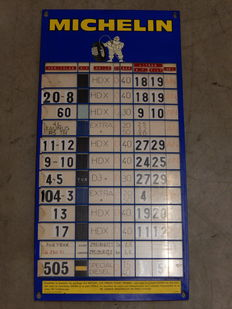 Vintage Original Plastic Michelin Tyre Chart Garage Advertising Sign in Good Vintage Used Condition with Some Original Sliding Cards included