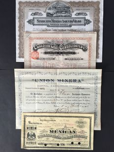4 bonds of mines and coal: Cuba, Canada - UK, Mexico, 2 x La Habana, 1916, 1917, 1 x Canada - London 1910, 1 x Mexico - San Francisco 1908 - securities, bonds, shares, nonvaleurs wertpapier, obligations, letters, coupons