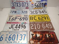 10 originele Amerikaanse kenteken platen - USA license plates