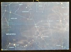 Lot of 2 school Astronomy posters. Starry sky with the constellations (amongst others dragon, little bear and big bear)