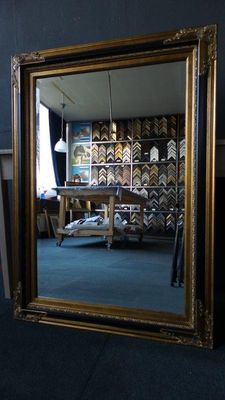 Large wall mirror - Facet cut glass - hand gilded - Antique gold - Black - Empire style