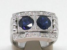 Antique diamond (0.44cts) and double sapphire (2.0cts) ring