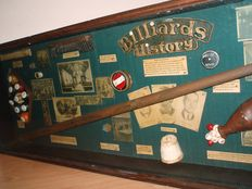 Billiards history schadow box,  van  de  eerste leden van de Biljart Hall of Fame