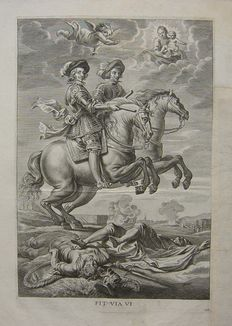 Two prints of Jan van Meurs (1620-1647) - Archduke Ferdinand on horseback with Madonna and child in heaven/portrait of Philip IV of Spain (1605 – 1665) from the series: 'Sereniss. Fernandi Cardinalis Infantis triumphalis introitus'- 1636