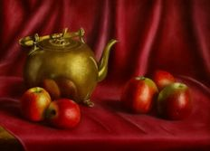 Jan Muijs (1925-2015) - Still life with apples and copper kettle