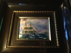 Limoges enamel plaque with sailing ship