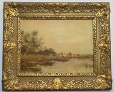 Village scene with canal boat in beautiful authentic frame - early 20th century