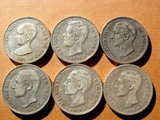 Spain - Set of 6 silver coins of 5 pesetas each - Amadeo I (1871 * 75); Alfonso XII (1875, 1877, 1878 and 1885 * 85) and Alfonso XIII (1891). (6).