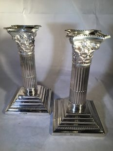 Pair of silver pillar candle stands, Mappin & Webb, Sheffield, 1908