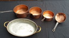 Four cooking pans red copper + 1 oval dish 27cm