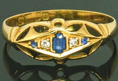 Ring, 18K yellow gold, 2 Cld Cut diamonds & Real Natural Sapphire Gemstone,- 0.18ct. SI2K