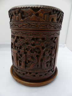Bamboo cut tobacco jar / tea canister - China - first half of the 19th century