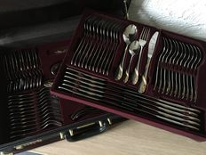 70 piece Nivella cutlery in suitcase - partly gilded