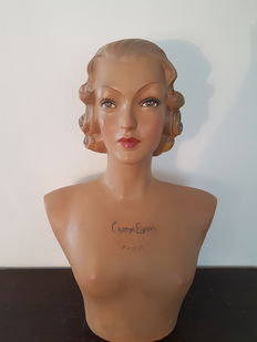 Realistic advertising bust 'Champs Elysees Paris' France, End 20th century