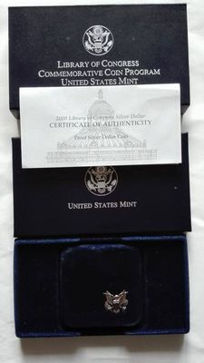 "USA – 1 Dollar 2000 ""Library of Congress"" + set 1976 ""Bicentenario"" – Silver"