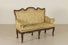 A walnut carved and upholstered sofa - Piedmont, Italy - probably mid 18th century
