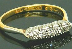 Ring, 18K yellow gold, old cut diamonds, set in platinum,  0.28ct., VS2 H