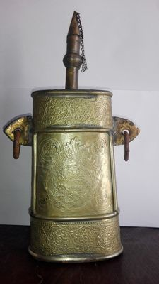 Handmade Powder Flask Brass  Persian Arab - dated 1900