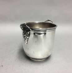 Silver plated kwispedor, for wine tasting, England, mid 20th century