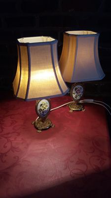 Two romantic bedside lamps, 2nd half twentieth century, France