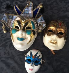 Collection of 3 Venetian masks