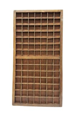 Large wooden typecase with copper fittings and 98 boxes - approx. 1920, United Kingdom