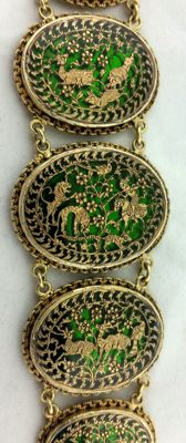 Very rare Indian bracelet – Thewa technique – 22 kt yellow gold.