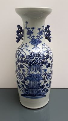 Nice, blue-white celadon vase; China; late nineteenth century