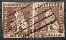 Tuscany – 1851 – 9 crazie, used pair – Sassone no. 8