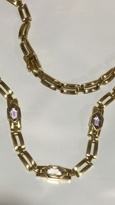 Necklace in 18 kt gold with amethysts