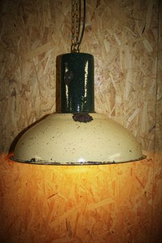 Designer unknown - industrial enamel lamp with bullet impacts.